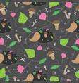 seamless pattern with forest plants mushrooms and vector image vector image