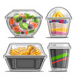 set for meal delivery service vector image vector image