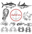 set seafood icons isolated on white background vector image
