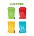 set trash cans for separate garbage icons vector image