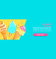 sweet shop horizontal banner with ice creams vector image vector image