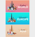 travel to world airplane with attractions set of vector image