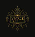 vintage style logo art deco design element vector image
