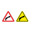 Warning sign of attention weapon Dangers yellow vector image vector image