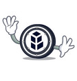 waving bancor coin character cartoon vector image vector image