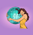 woman hugging the earth continent of africa and vector image vector image