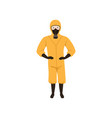 worker of chemical laboratory wearing orange vector image