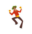 young man dancing with maracas at brazil carnival vector image vector image