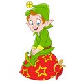 cute cartoon xmas elf vector image