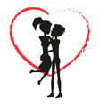 man holding woman silhouette vector image