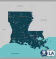 map of state louisiana usa vector image