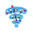 People in wi-fi zone vector image