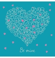 Greeting card with floral heart shape eps8 vector image