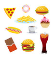 set harmful foods chocolate and cola hamburger vector image