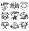 Set of vintage cowboy emblems vector image