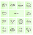 14 meat icons vector image vector image