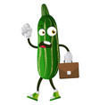 angry cucumber on white background vector image vector image