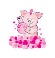 baby pig is washing bubbles pink vector image