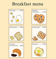 breakfast menu design cartoon vector image