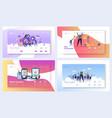 business teamwork landing page template set vector image