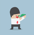 Businessman eating dollars Corruption and greed c vector image vector image