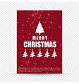 christmas card frame with tree and red background vector image