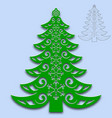 christmas tree cut from paper template for design vector image vector image