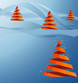 Christmas tree made with red ribbons on blue vector image vector image