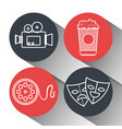 cinema entertainment elements icons vector image vector image