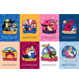 cinema genres cards set vector image