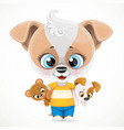cute cartoon baby dog with soft toys in hands vector image vector image