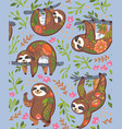 cute sloths with floral ornament in the jungle vector image