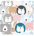 cute wild animal funny face seamless pattern vector image