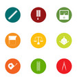 defect icons set flat style vector image vector image