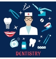 Dentistry concept with dentist and dental elements vector image