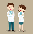 doctor character man and women vector image vector image