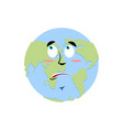 earth surprise emoji planet amaze emotion isolated vector image