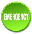 emergency green round flat isolated push button vector image vector image