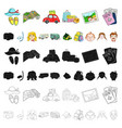 family holiday cartoon icons in set collection for vector image vector image