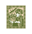 Farmer With Basket of Harvest vector image vector image