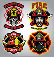 firefighter badge set vector image vector image