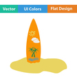Flat design icon of surfboard vector image vector image