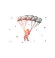 hand drawn santa claus flying down on parachute vector image vector image