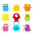 happy halloween cute monster icon set cartoon vector image vector image