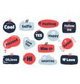 hashtag social banner media slang doodle logos vector image vector image