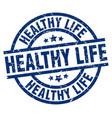 Healthy life blue round grunge stamp