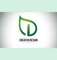 i leaf logo letter design with green leaf outline vector image vector image