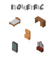 isometric design set of cupboard drawer table vector image vector image