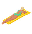 isometric young woman on air mattress in big vector image