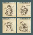 kids - set vintage drawings vector image vector image